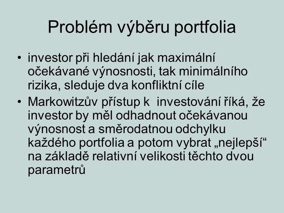 Problém výběru portfolia bude-li dána množina portfolií, měl by investor nejprve stanovit očekávanou výnosnost a riziko změny výnosnosti těchto portfolií poté může učinit kvalifikované rozhodnutí, které z těchto portfolií nakoupit toto rozhodnutí by se mělo opírat o investorovy postoje k riziku a výnosnosti, které je možno vyjádřit jeho křivkami indiference.