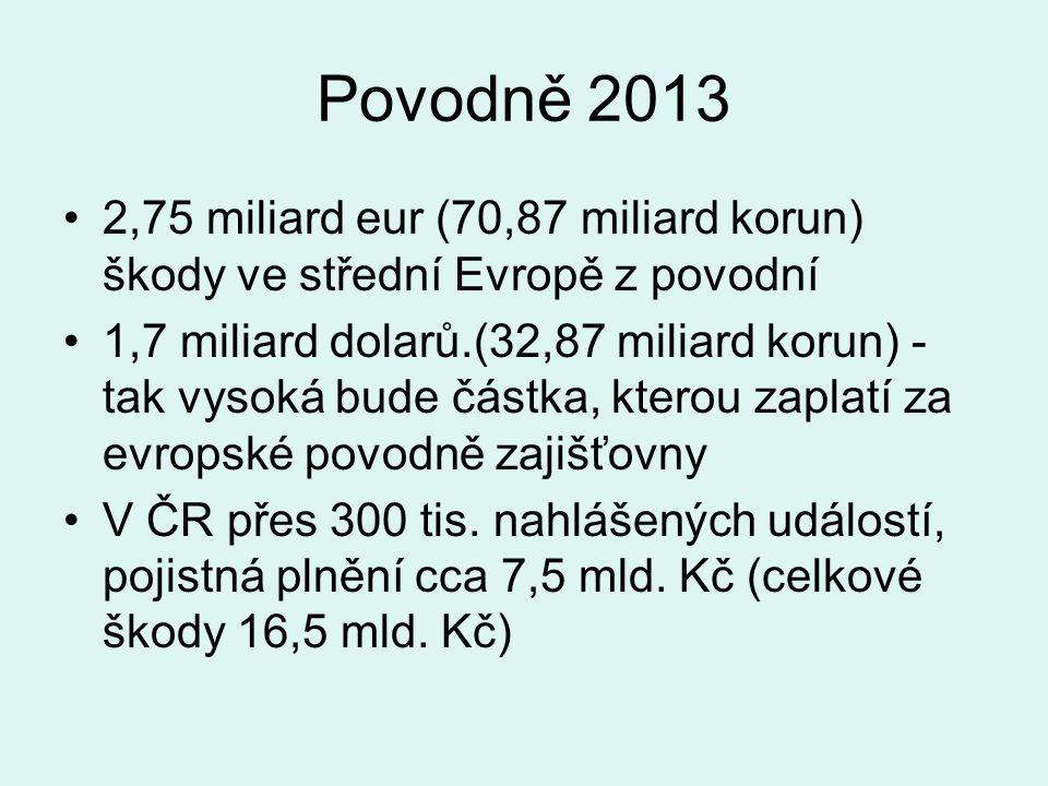 Povodně 2013 2,75 miliard eur (70,87 miliard korun) škody ve střední Evropě z povodní 1,7 miliard dolarů.(32,87 miliard korun) - tak vysoká bude částka, kterou zaplatí za evropské povodně zajišťovny V ČR přes 300 tis.