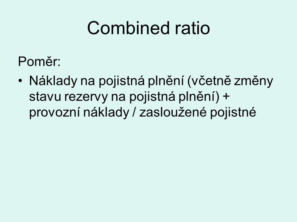 Combined ratio Poměr: Náklady na pojistná plnění (včetně změny stavu rezervy na pojistná plnění) + provozní náklady / zasloužené pojistné