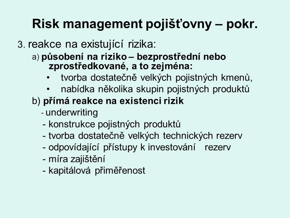 Risk management pojišťovny – pokr. 3. reakce na existující rizika: a) působení na riziko – bezprostřední nebo zprostředkované, a to zejména: tvorba do