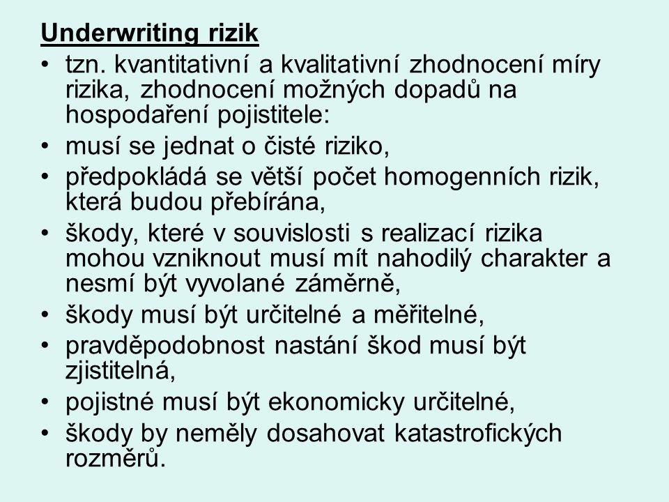 Underwriting rizik tzn. kvantitativní a kvalitativní zhodnocení míry rizika, zhodnocení možných dopadů na hospodaření pojistitele: musí se jednat o či