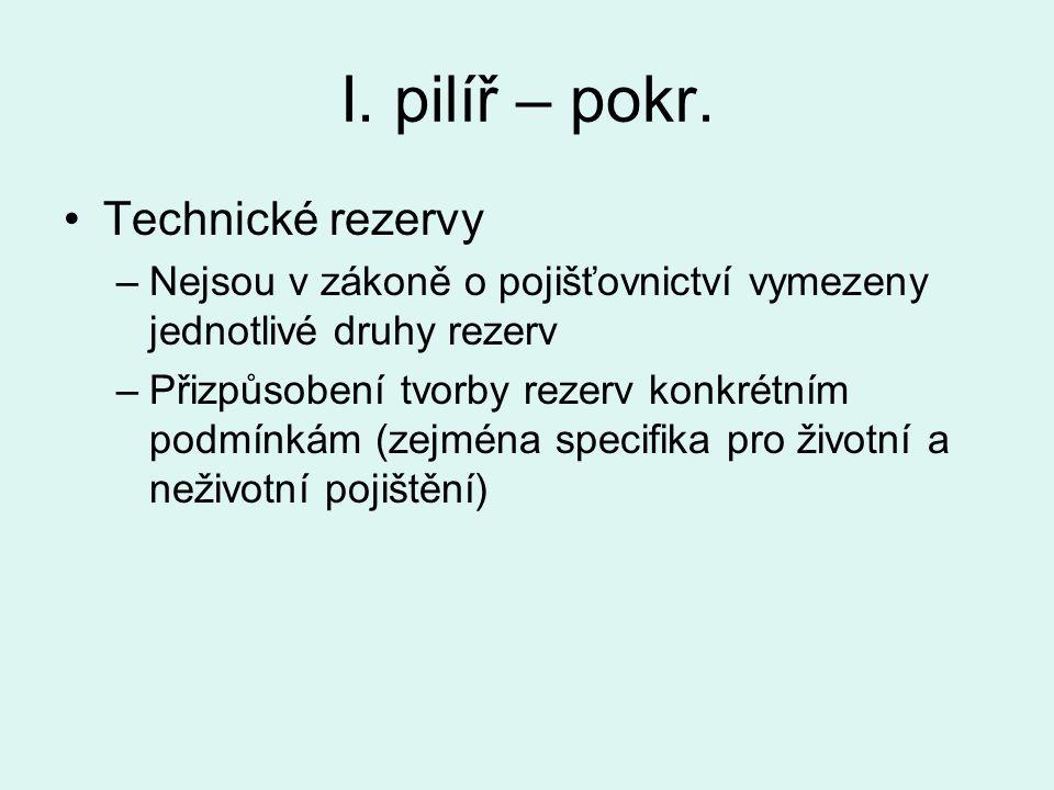 I. pilíř – pokr. Technické rezervy –Nejsou v zákoně o pojišťovnictví vymezeny jednotlivé druhy rezerv –Přizpůsobení tvorby rezerv konkrétním podmínkám