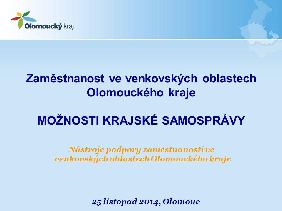 Zaměstnanost ve venkovských oblastech Olomouckého kraje MOŽNOSTI KRAJSKÉ SAMOSPRÁVY 25 listopad 2014, Olomouc Nástroje podpory zaměstnanosti ve venkovských oblastech Olomouckého kraje