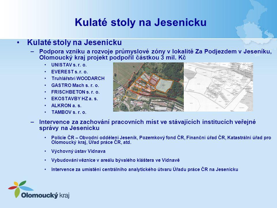 Kulaté stoly na Jesenicku –Podpora vzniku a rozvoje průmyslové zóny v lokalitě Za Podjezdem v Jeseníku, Olomoucký kraj projekt podpořil částkou 3 mil.