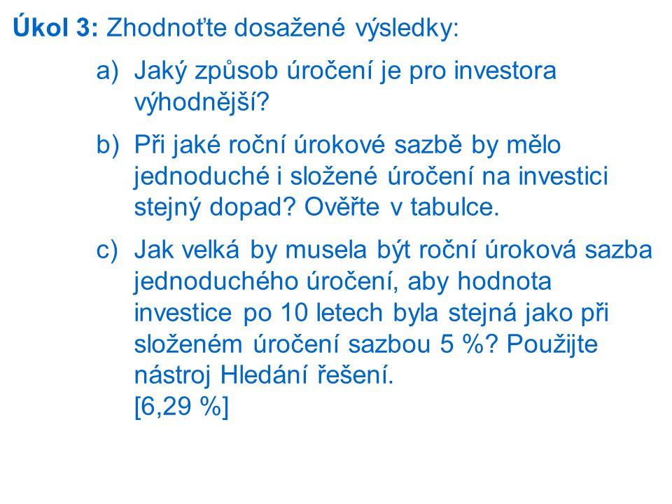 Úkol 3: Zhodnoťte dosažené výsledky: a)Jaký způsob úročení je pro investora výhodnější? b)Při jaké roční úrokové sazbě by mělo jednoduché i složené úr