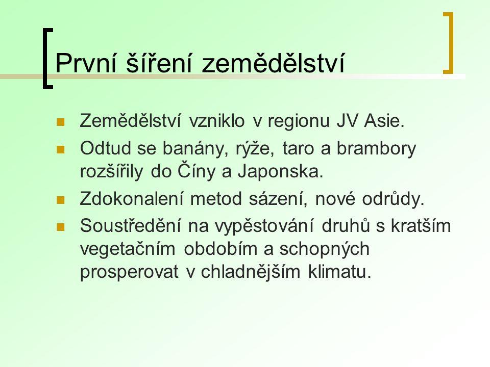 První šíření zemědělství Zemědělství vzniklo v regionu JV Asie.