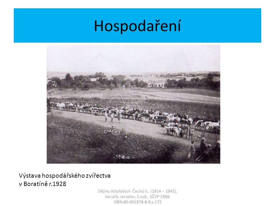Výstava hospodářského zvířectva v Boratíně r.1928 Dějiny Volyňských Čechů II., (1914 – 1945), Vaculík, Jaroslav, 1.vyd., SČVP 1998, ISBN:80-901878-8-9,s.172 Hospodaření