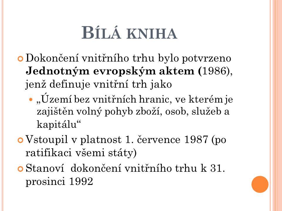 """B ÍLÁ KNIHA Dokončení vnitřního trhu bylo potvrzeno Jednotným evropským aktem ( 1986), jenž definuje vnitřní trh jako """"Území bez vnitřních hranic, ve kterém je zajištěn volný pohyb zboží, osob, služeb a kapitálu Vstoupil v platnost 1."""