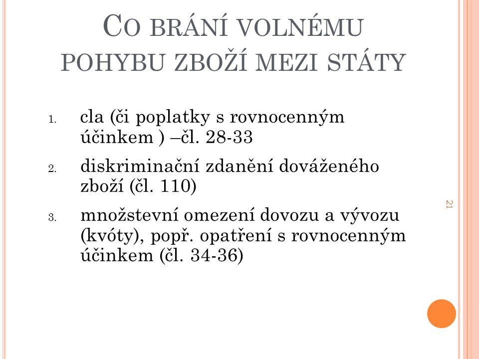 21 C O BRÁNÍ VOLNÉMU POHYBU ZBOŽÍ MEZI STÁTY 1. cla (či poplatky s rovnocenným účinkem ) –čl.