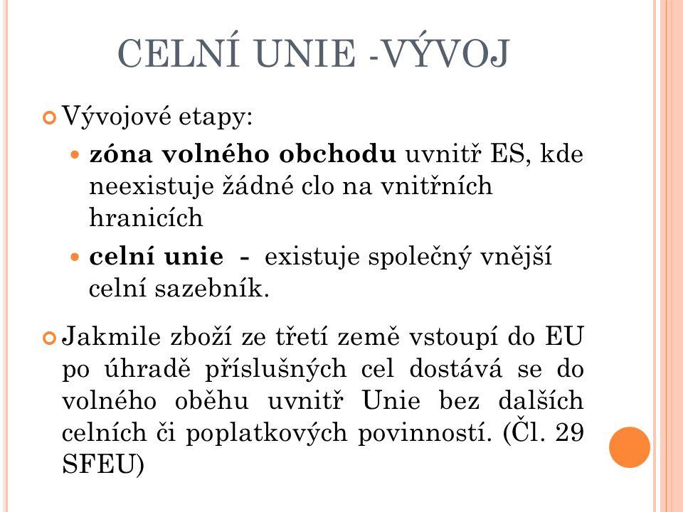 CELNÍ UNIE -VÝVOJ Vývojové etapy: zóna volného obchodu uvnitř ES, kde neexistuje žádné clo na vnitřních hranicích celní unie - existuje společný vnější celní sazebník.