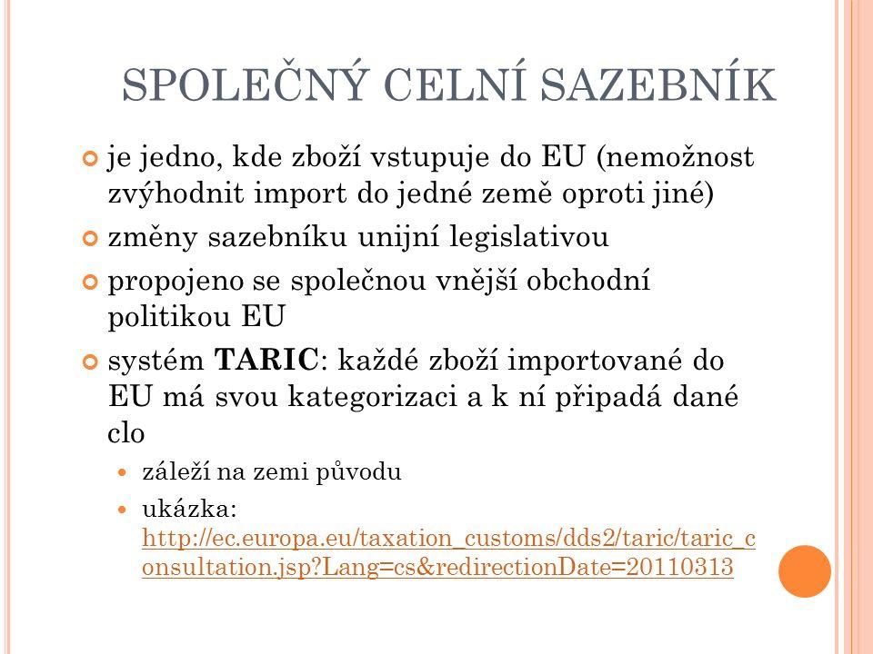 SPOLEČNÝ CELNÍ SAZEBNÍK je jedno, kde zboží vstupuje do EU (nemožnost zvýhodnit import do jedné země oproti jiné) změny sazebníku unijní legislativou propojeno se společnou vnější obchodní politikou EU systém TARIC : každé zboží importované do EU má svou kategorizaci a k ní připadá dané clo záleží na zemi původu ukázka: http://ec.europa.eu/taxation_customs/dds2/taric/taric_c onsultation.jsp Lang=cs&redirectionDate=20110313 http://ec.europa.eu/taxation_customs/dds2/taric/taric_c onsultation.jsp Lang=cs&redirectionDate=20110313