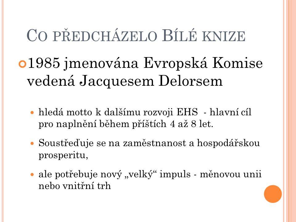 C O PŘEDCHÁZELO B ÍLÉ KNIZE 1985 jmenována Evropská Komise vedená Jacquesem Delorsem hledá motto k dalšímu rozvoji EHS - hlavní cíl pro naplnění během příštích 4 až 8 let.