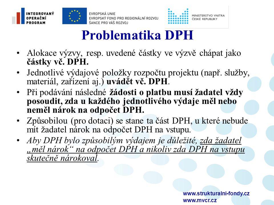 www.strukturalni-fondy.cz www.mvcr.cz Problematika DPH Alokace výzvy, resp.