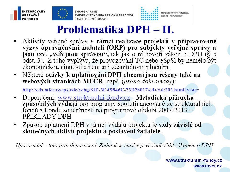 www.strukturalni-fondy.cz www.mvcr.cz Problematika DPH – II.