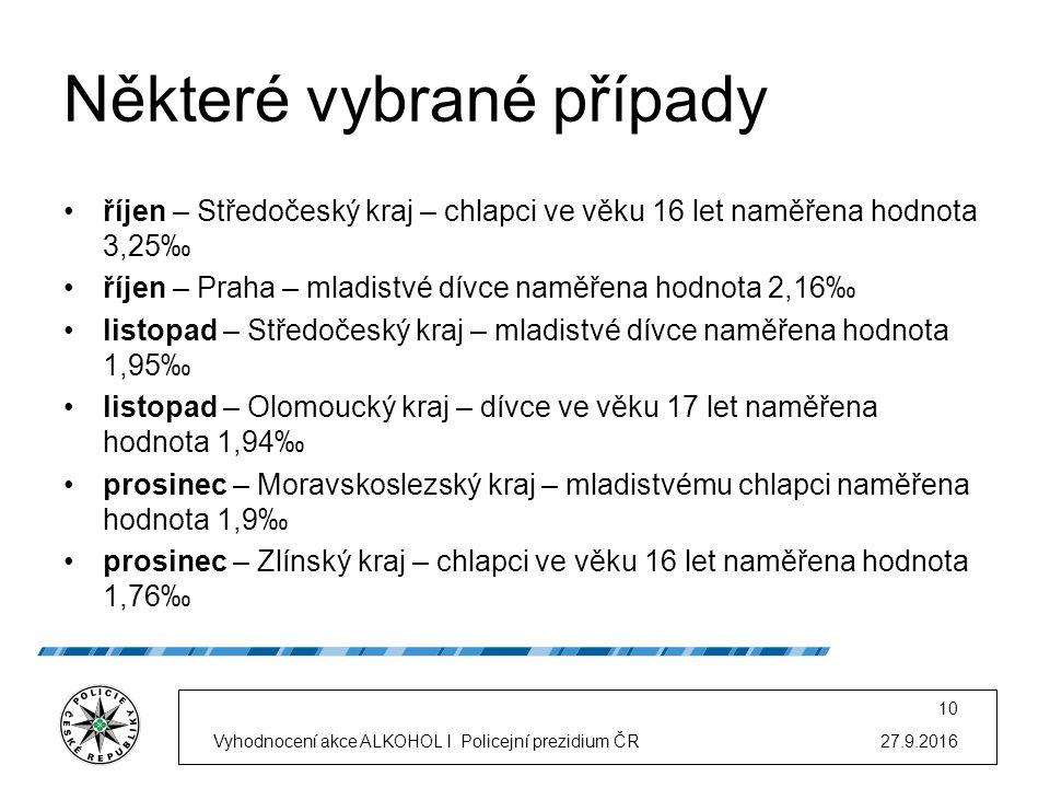 Některé vybrané případy říjen – Středočeský kraj – chlapci ve věku 16 let naměřena hodnota 3,25‰ říjen – Praha – mladistvé dívce naměřena hodnota 2,16‰ listopad – Středočeský kraj – mladistvé dívce naměřena hodnota 1,95‰ listopad – Olomoucký kraj – dívce ve věku 17 let naměřena hodnota 1,94‰ prosinec – Moravskoslezský kraj – mladistvému chlapci naměřena hodnota 1,9‰ prosinec – Zlínský kraj – chlapci ve věku 16 let naměřena hodnota 1,76‰ 27.9.2016Vyhodnocení akce ALKOHOL l Policejní prezidium ČR 10