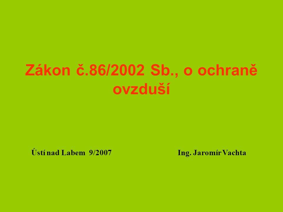 Zákon č.86/2002 Sb., o ochraně ovzduší Ústí nad Labem 9/2007 Ing. Jaromír Vachta