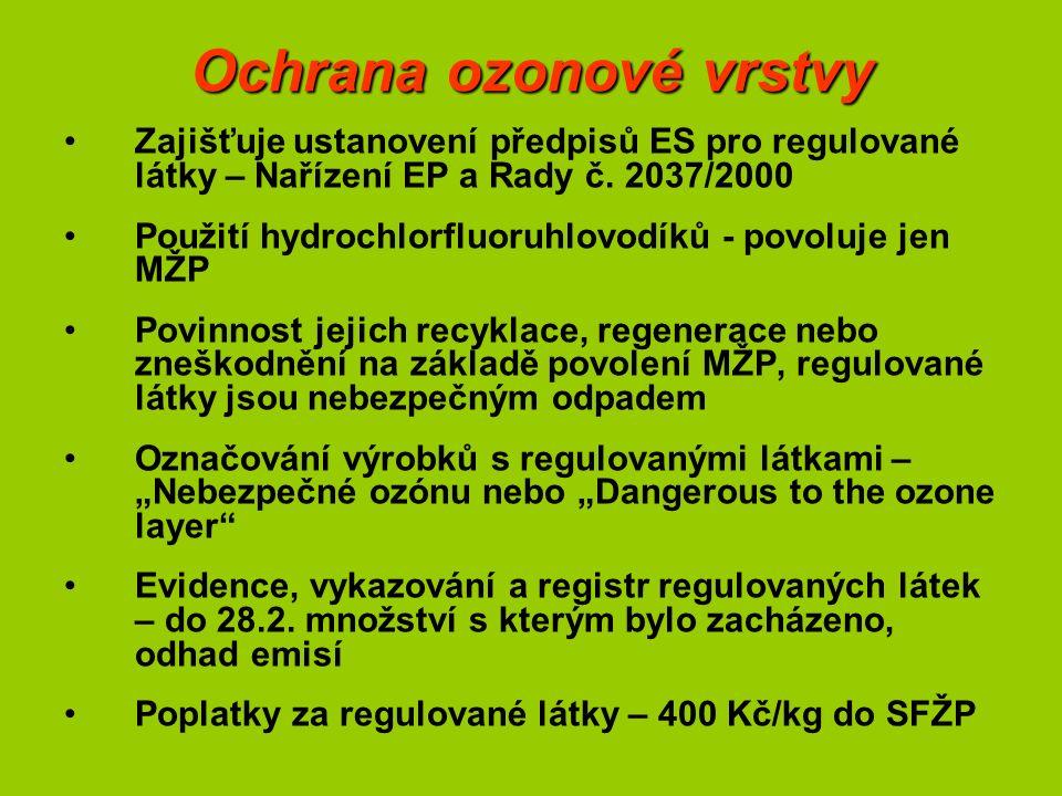 Ochrana ozonové vrstvy Zajišťuje ustanovení předpisů ES pro regulované látky – Nařízení EP a Rady č. 2037/2000 Použití hydrochlorfluoruhlovodíků - pov