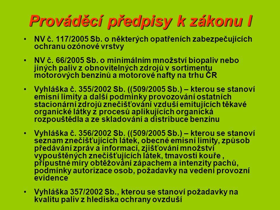 Prováděcí předpisy k zákonu I NV č. 117/2005 Sb. o některých opatřeních zabezpečujících ochranu ozónové vrstvy NV č. 66/2005 Sb. o minimálním množství