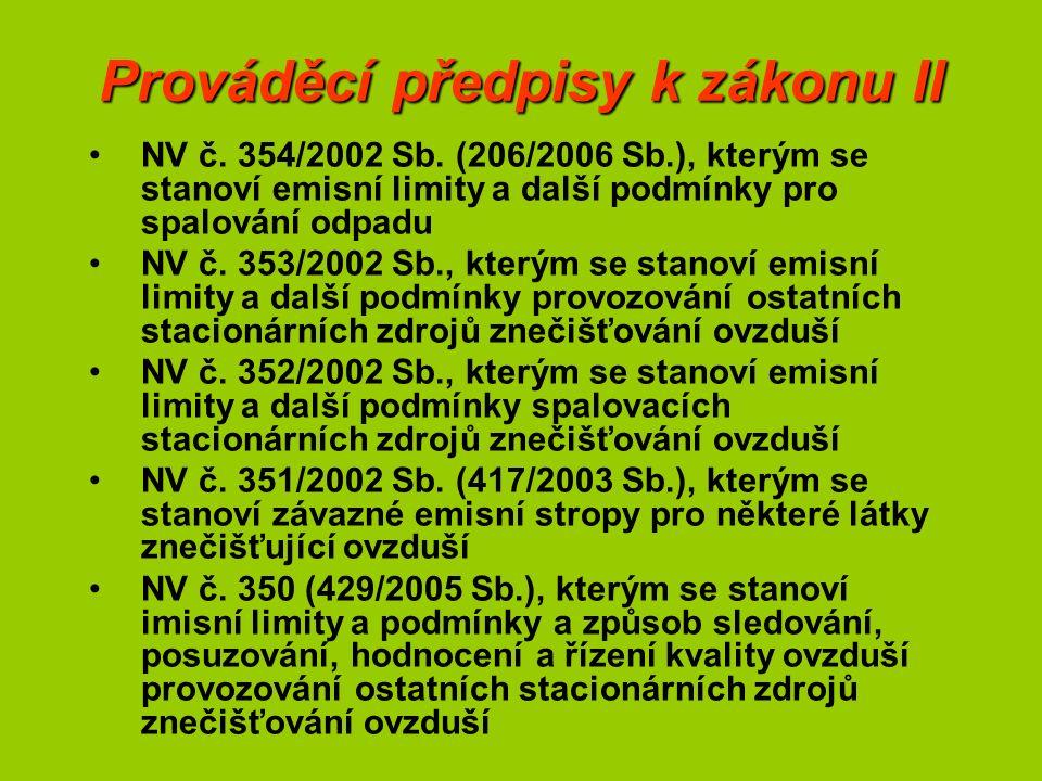 Prováděcí předpisy k zákonu II NV č. 354/2002 Sb. (206/2006 Sb.), kterým se stanoví emisní limity a další podmínky pro spalování odpadu NV č. 353/2002