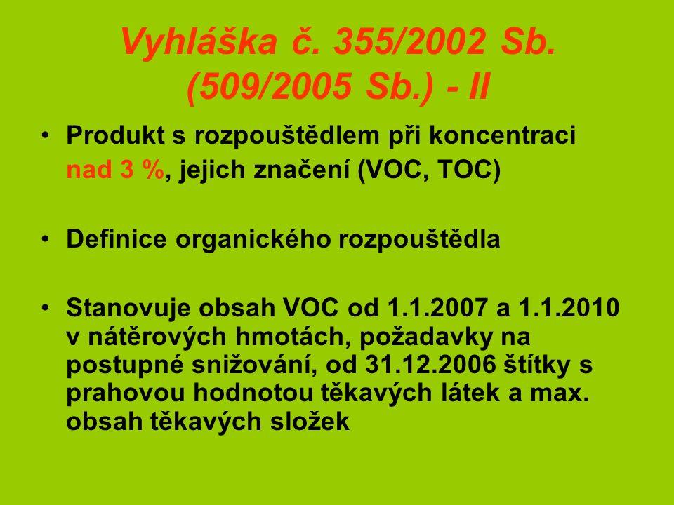 Vyhláška č. 355/2002 Sb. (509/2005 Sb.) - II Produkt s rozpouštědlem při koncentraci nad 3 %, jejich značení (VOC, TOC) Definice organického rozpouště