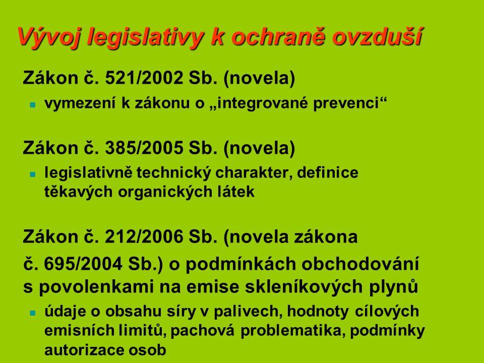 """Vývoj legislativy k ochraně ovzduší Zákon č. 521/2002 Sb. (novela) vymezení k zákonu o """"integrované prevenci"""" Zákon č. 385/2005 Sb. (novela) legislati"""