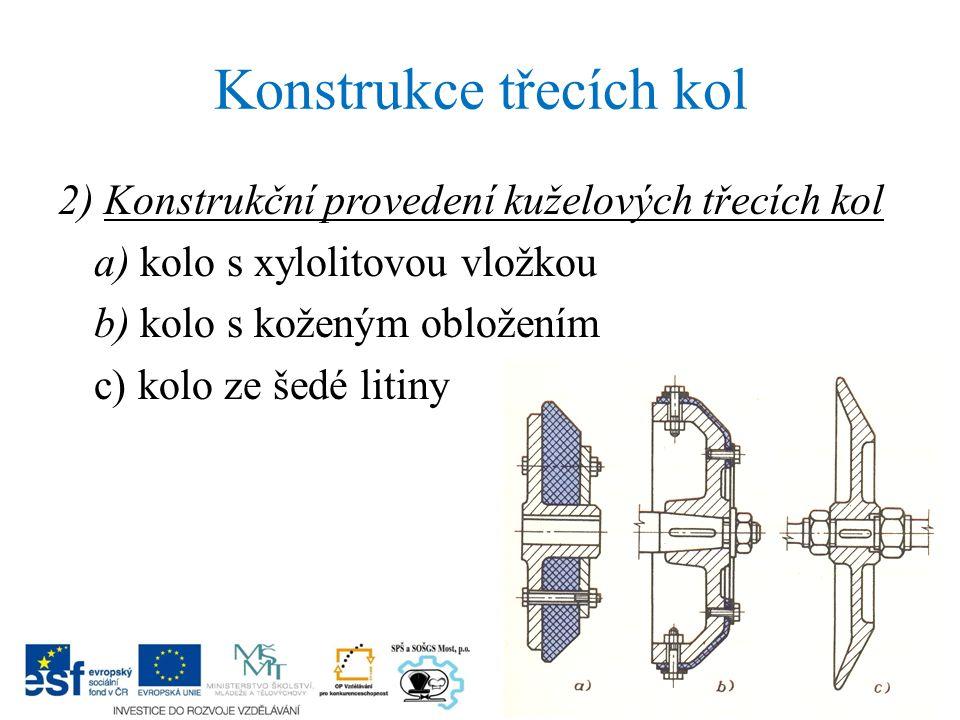 2) Konstrukční provedení kuželových třecích kol a) kolo s xylolitovou vložkou b) kolo s koženým obložením c) kolo ze šedé litiny