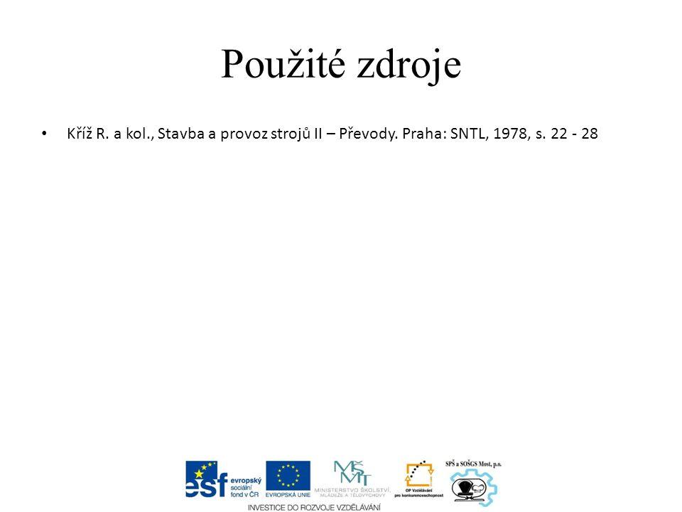 Použité zdroje Kříž R. a kol., Stavba a provoz strojů II – Převody. Praha: SNTL, 1978, s. 22 - 28