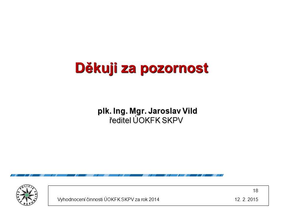 Děkuji za pozornost plk. Ing. Mgr. Jaroslav Vild ředitel ÚOKFK SKPV plk.