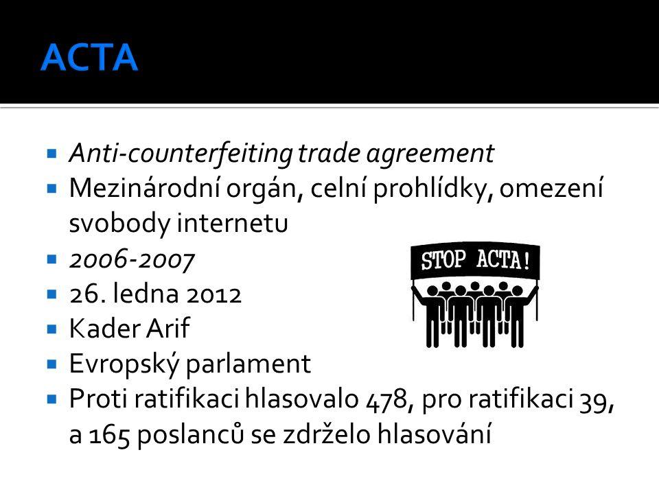 Anti-counterfeiting trade agreement  Mezinárodní orgán, celní prohlídky, omezení svobody internetu  2006-2007  26. ledna 2012  Kader Arif  Evro