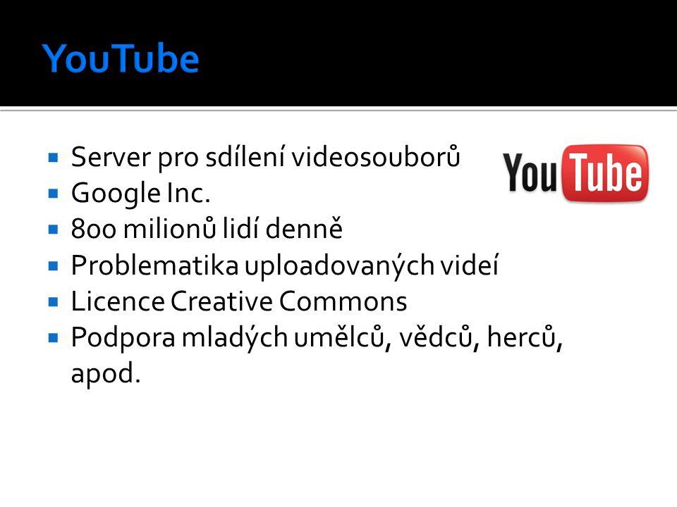  Server pro sdílení videosouborů  Google Inc.  800 milionů lidí denně  Problematika uploadovaných videí  Licence Creative Commons  Podpora mladý
