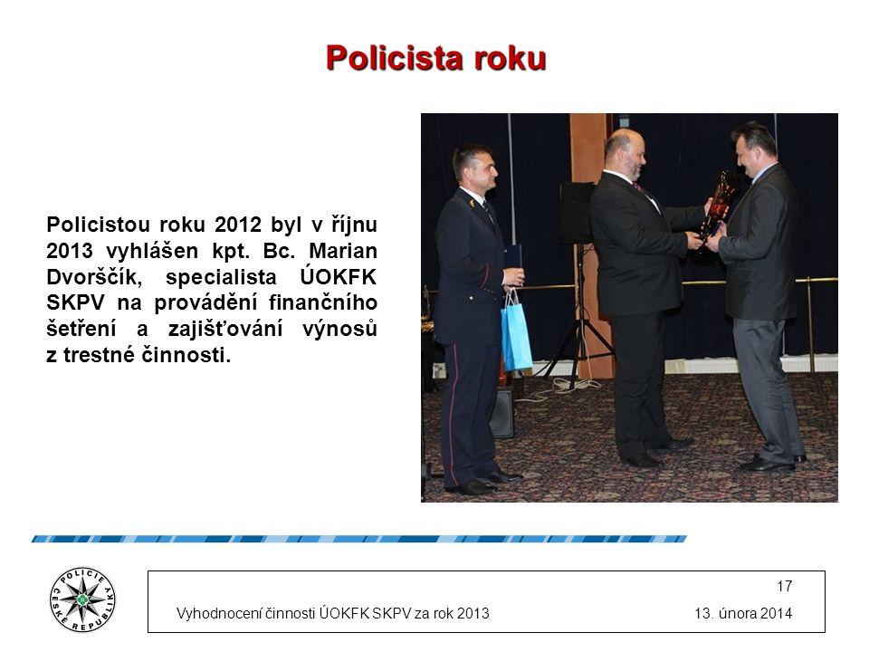 Policista roku Policistou roku 2012 byl v říjnu 2013 vyhlášen kpt.