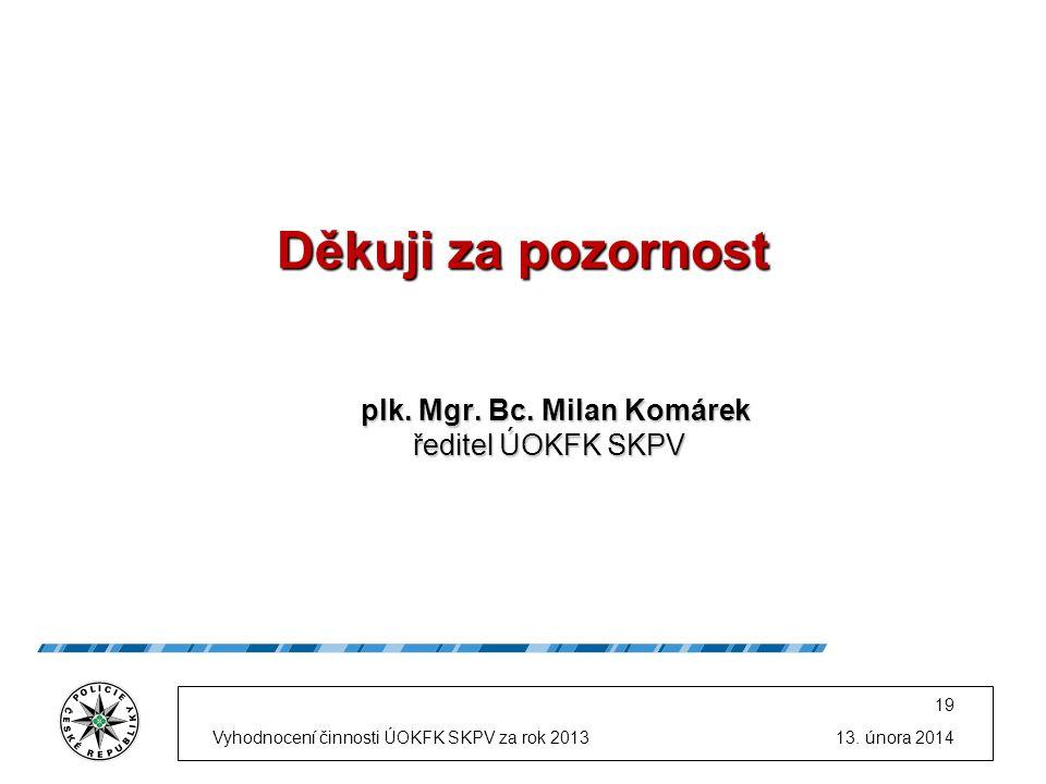 Děkuji za pozornost plk. Mgr. Bc. Milan Komárek ředitel ÚOKFK SKPV plk.