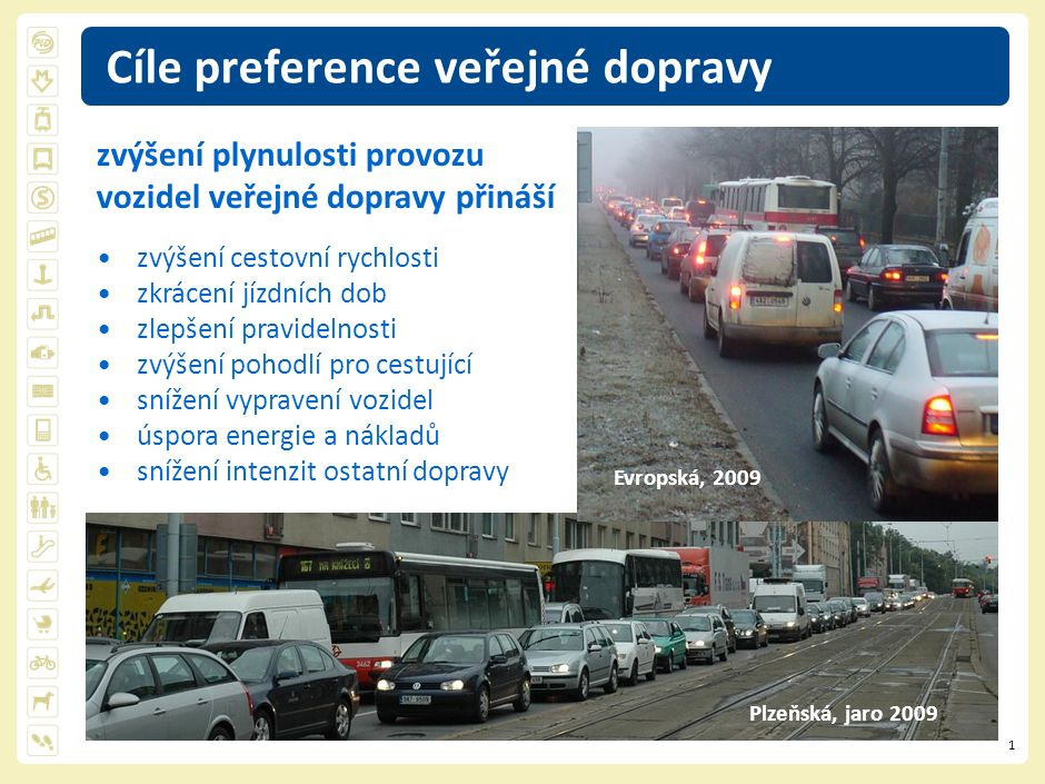 2 Preference vozidel liniová samostatná dopravní cesta metro, vlak, tram, lanovka, bus oddělená dopravní cesta tram, bus vyhrazená dopravní cesta bus bodová (uzlová) křižovatky systém přednosti, vyloučení směrů světelná signalizační zařízení křižovatková, závorová zastávky umístění - před SSZ (přechody v čele) - za SSZ (snazší preference) Plzeňská, do léta 2009 Plzeňská, od podzimu 2009 … a cestujících v nich