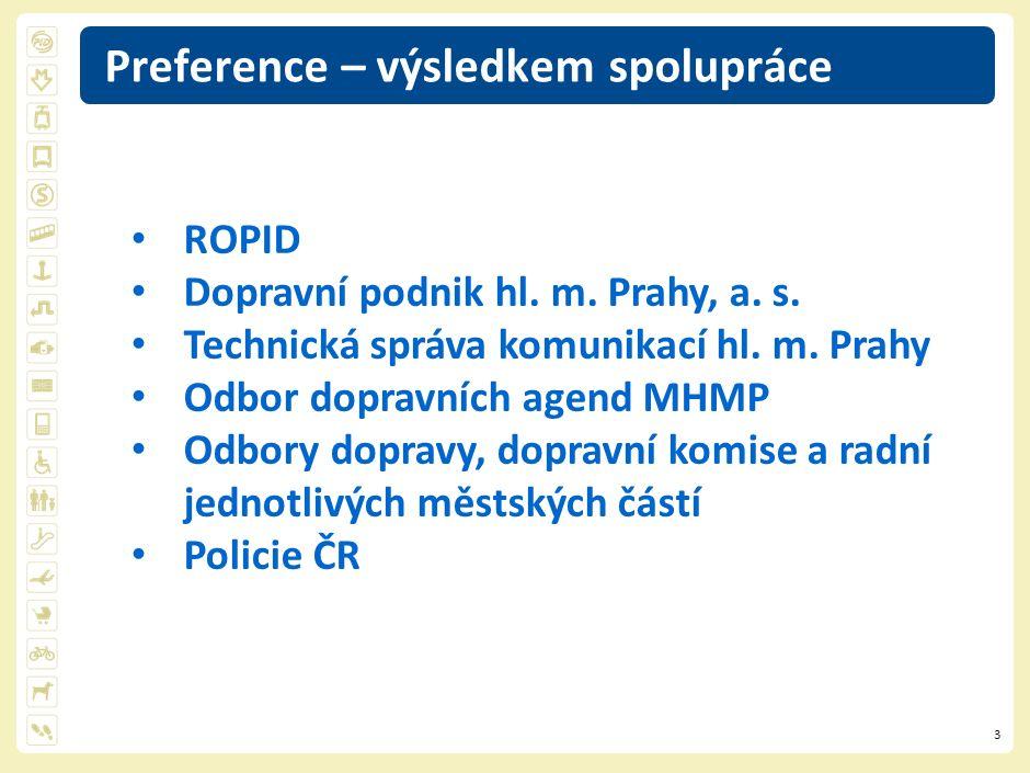 3 Preference – výsledkem spolupráce ROPID Dopravní podnik hl. m. Prahy, a. s. Technická správa komunikací hl. m. Prahy Odbor dopravních agend MHMP Odb