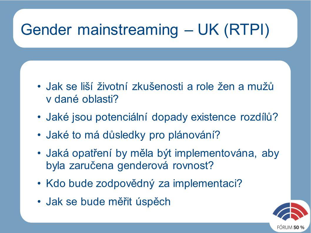 Gender mainstreaming – UK (RTPI) Jak se liší životní zkušenosti a role žen a mužů v dané oblasti.
