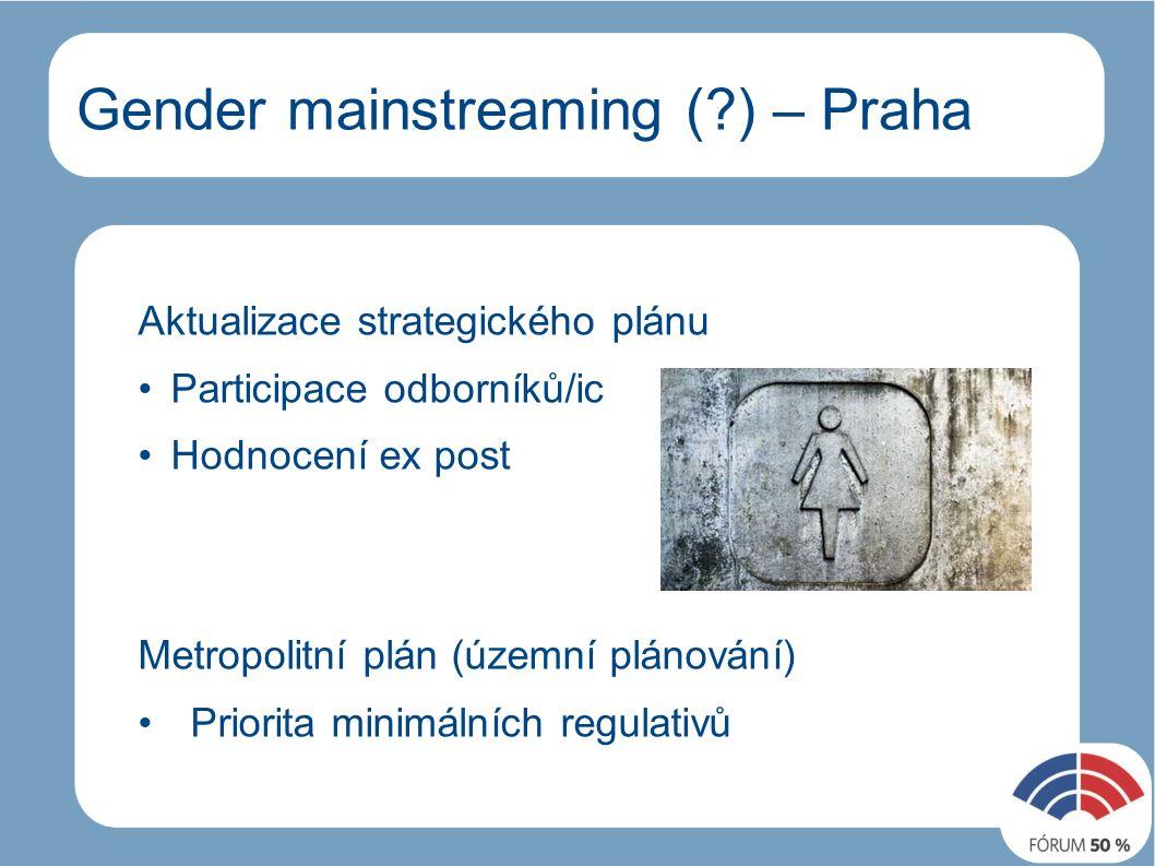 Gender mainstreaming ( ) – Praha Aktualizace strategického plánu Participace odborníků/ic Hodnocení ex post Metropolitní plán (územní plánování) Priorita minimálních regulativů