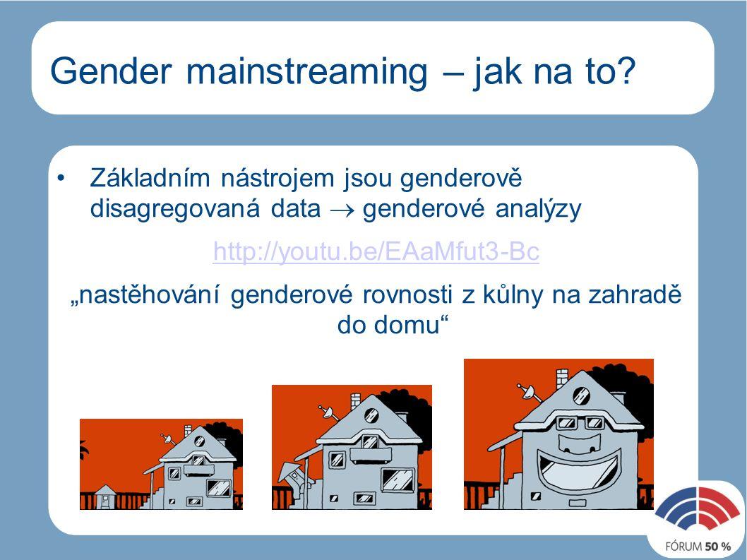 Gender mainstreaming - jak Ženy a muži viditelní všech politických dokumentech na všech úrovních (dílčích politikách, opatření)  studenti a studentky, senioři a seniorky Odborné konzultace, školení v genderové problematice http://youtu.be/gA9Bm0ZKrJA