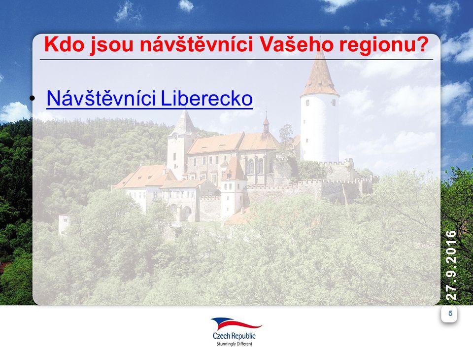 5 27.9.2016 Kdo jsou návštěvníci Vašeho regionu Návštěvníci Liberecko