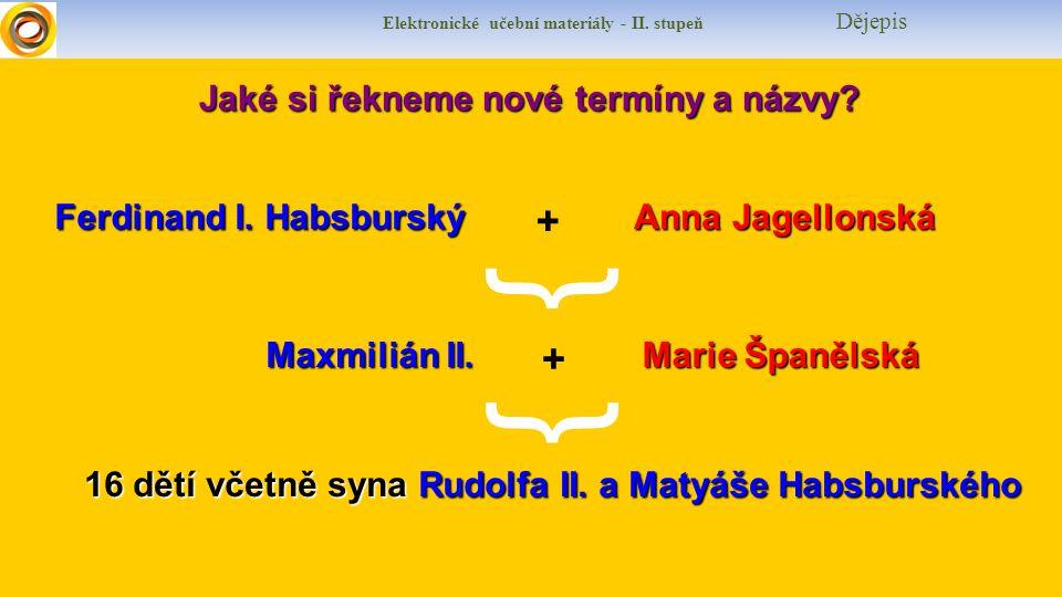Jaké si řekneme nové termíny a názvy? Ferdinand I. Habsburský + Anna Jagellonská { Maxmilián II. + Marie Španělská { 16 dětí včetně syna Rudolfa II.a