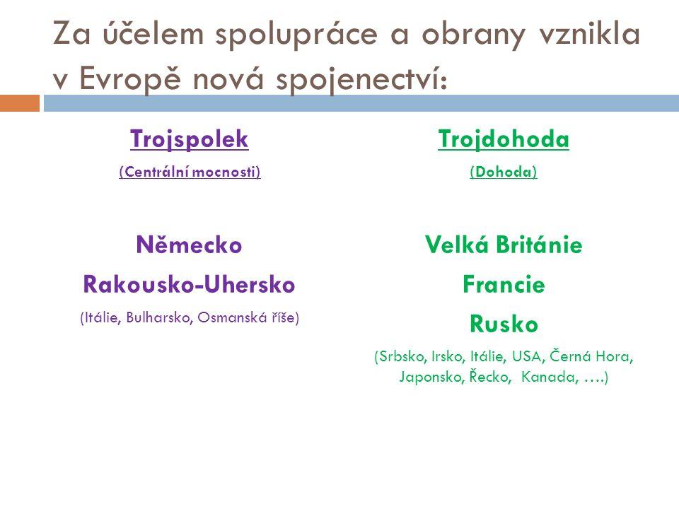 Za účelem spolupráce a obrany vznikla v Evropě nová spojenectví: Trojspolek (Centrální mocnosti) Německo Rakousko-Uhersko (Itálie, Bulharsko, Osmanská říše) Trojdohoda (Dohoda) Velká Británie Francie Rusko (Srbsko, Irsko, Itálie, USA, Černá Hora, Japonsko, Řecko, Kanada, ….)