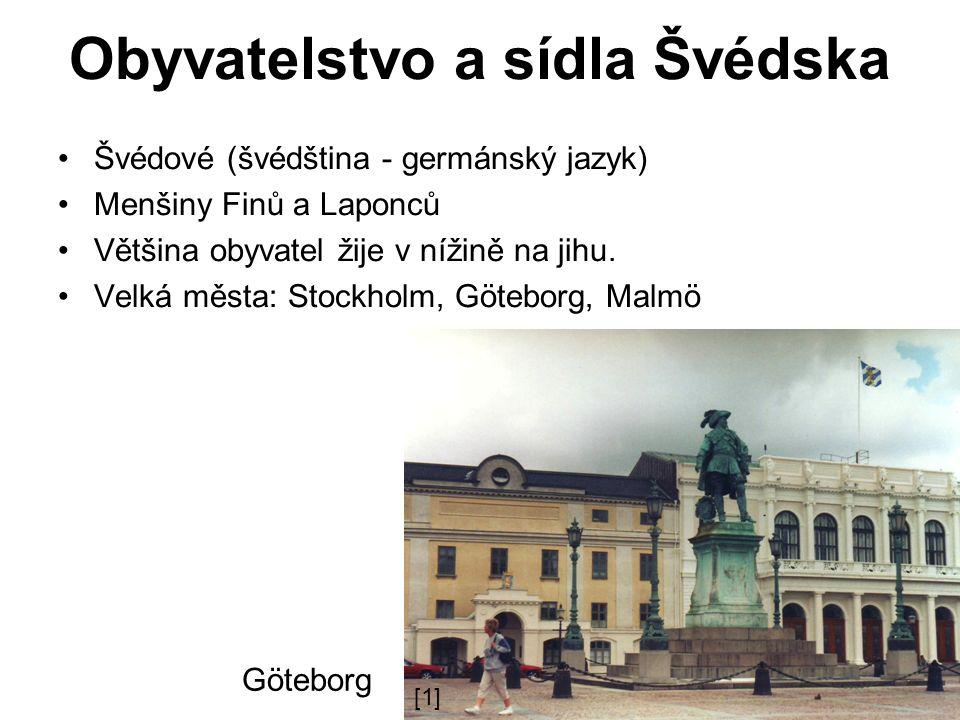 Obyvatelstvo a sídla Švédska Švédové (švédština - germánský jazyk) Menšiny Finů a Laponců Většina obyvatel žije v nížině na jihu.