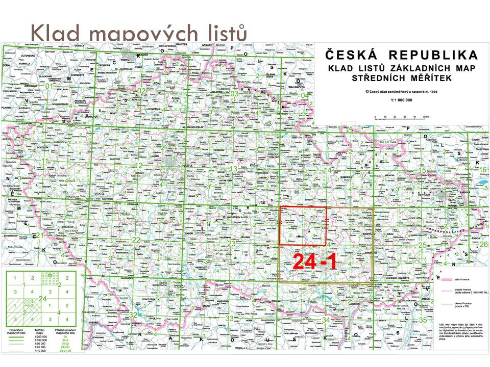 Klad mapových listů - ZM středního měřítka  ZM 200 – název nejvýznamnějšího sídla a dvojice čísel (vrstvy 0-4, sloupce 1-8), např.