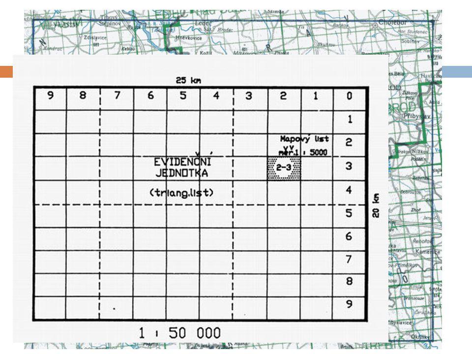 Klad mapových listů - SMO5  rozměry a označení mapových listů odvozeny z mapového listu Státní mapy 1:50 000  plocha 25 x 20 km – název nejvýznamnějšího geografického objektu, např.