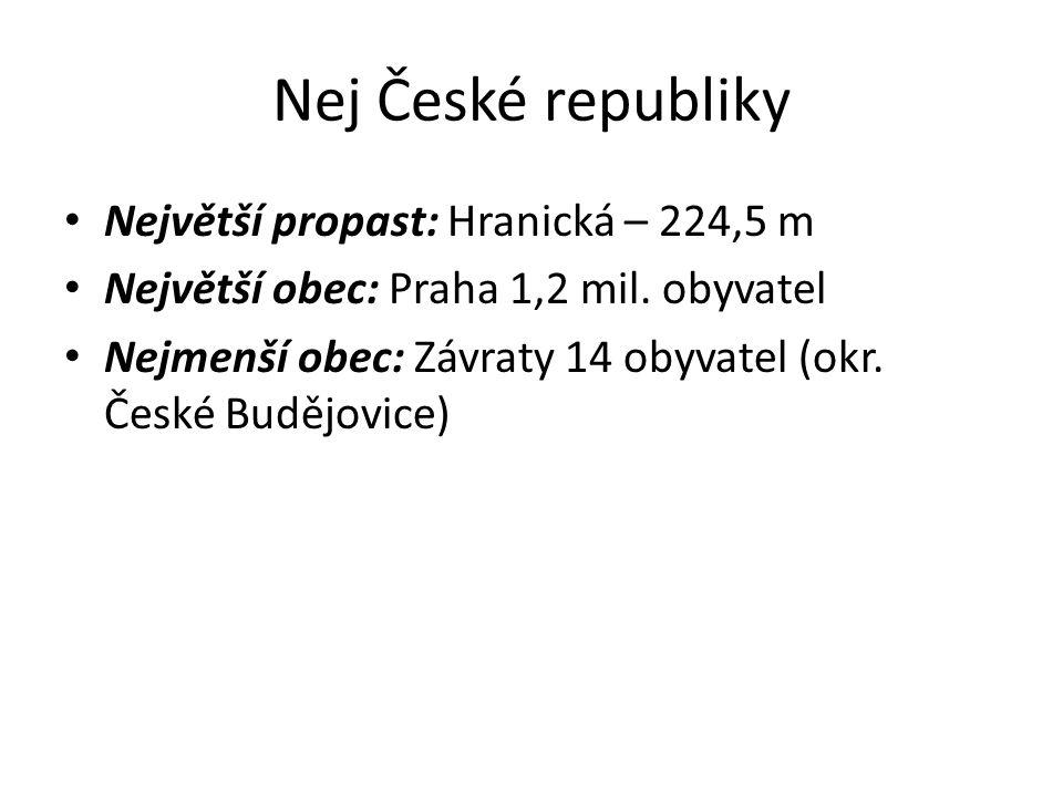 Nej České republiky Největší propast: Hranická – 224,5 m Největší obec: Praha 1,2 mil.
