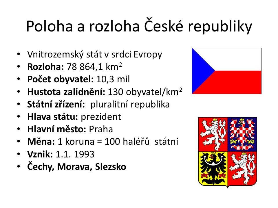 Poloha a rozloha České republiky Vnitrozemský stát v srdci Evropy Rozloha: 78 864,1 km 2 Počet obyvatel: 10,3 mil Hustota zalidnění: 130 obyvatel/km 2
