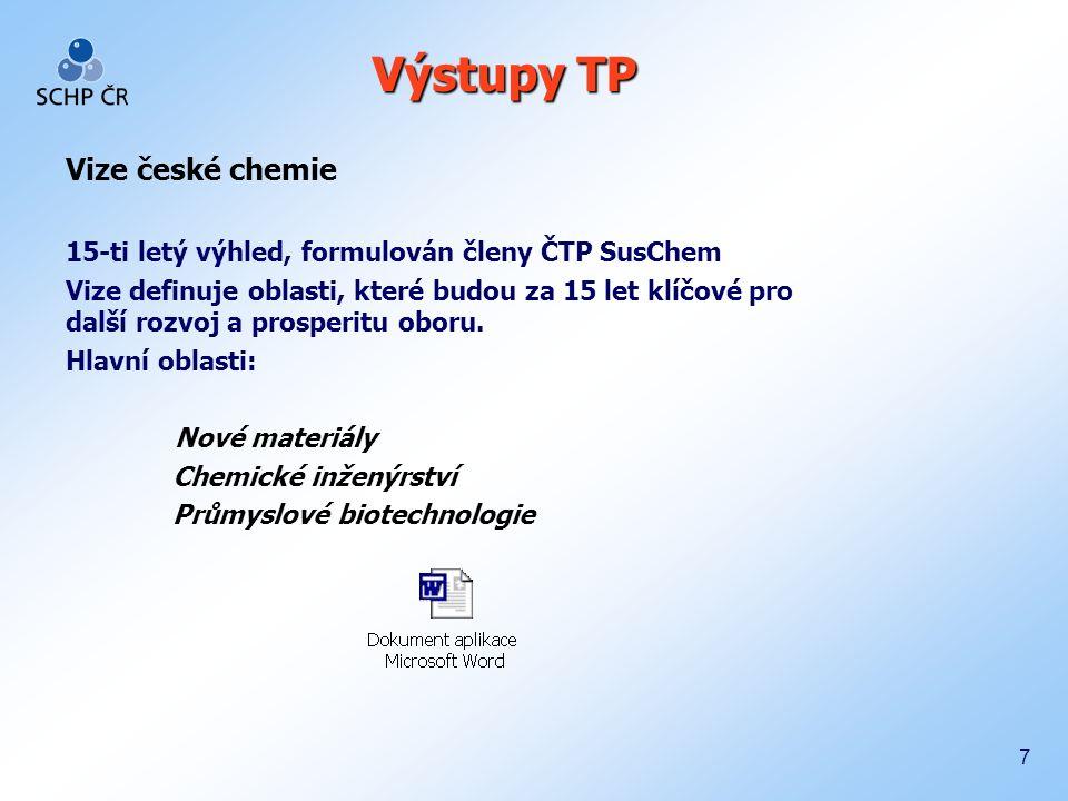 8 Vize ČTP SusChem Zachování a zvyšování konkurenceschopnosti chemického průmyslu založené na moderních technologiích a inovacích.