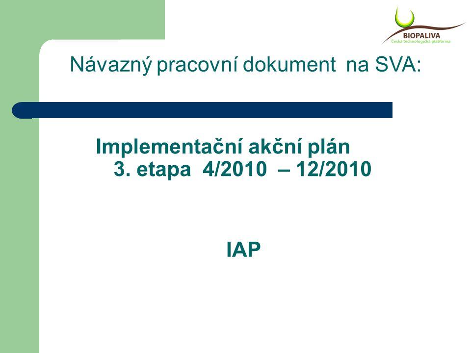 Implementační akční plán 3. etapa 4/2010 – 12/2010 IAP Návazný pracovní dokument na SVA:
