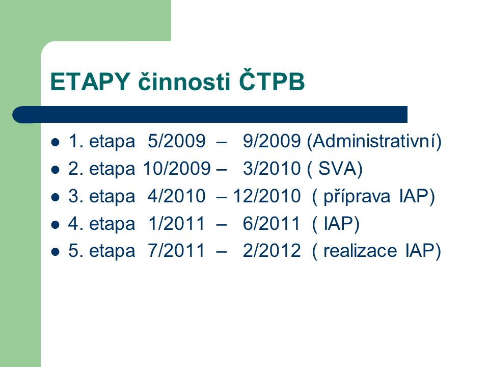 ETAPY činnosti ČTPB 1. etapa 5/2009 – 9/2009 (Administrativní) 2. etapa 10/2009 – 3/2010 ( SVA) 3. etapa 4/2010 – 12/2010 ( příprava IAP) 4. etapa 1/2