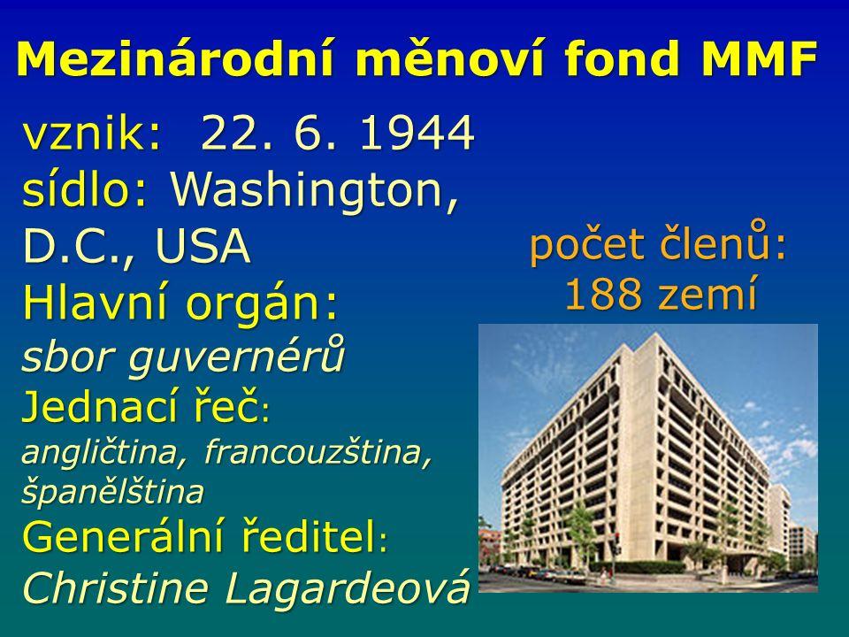 Mezinárodní měnoví fond MMF vznik: 22. 6.