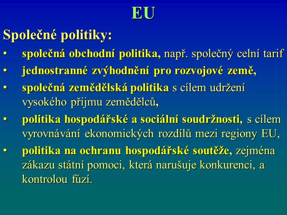 EU Společné politiky: společná obchodní politika, např.